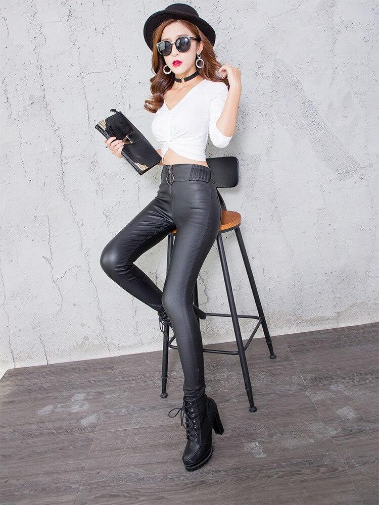 Artificial Leather Pajama Pants Women Tight Elastic Leather Leggings High Waist Thin Matt Trousers Pencil Pant
