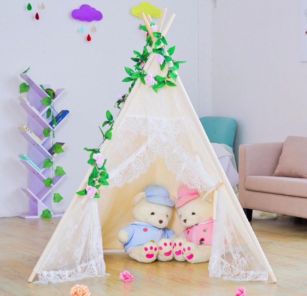 Cream Lace Teepee Girls Teepee Beige Teepee Tent for Girls Prop Teepees Lace Tipi yellow chevron pet teepee dog bed house teepee for dogs rabbit teepee