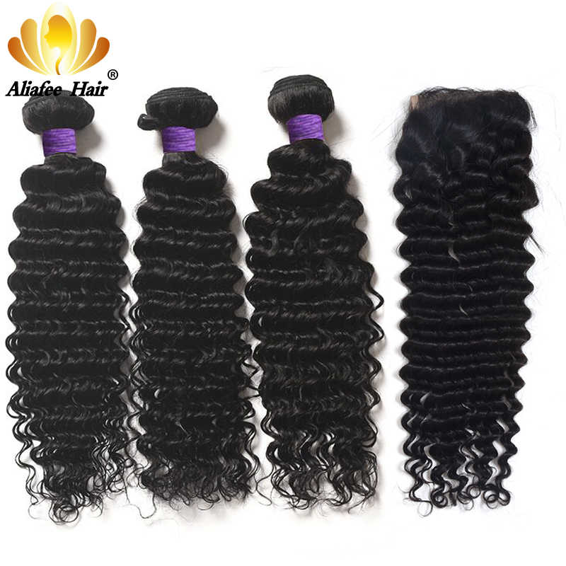 "Aliafee Hair Deep Wave Bundles With Closure 4*4 Brazilian Hair Weave Curl Natural Color 8""-28"" 100% Human Hair Extension"