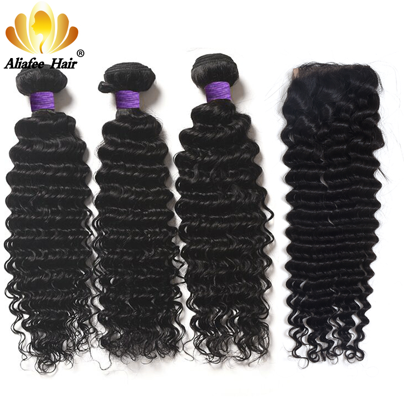 Aliafee Hair Deep Wave Bundles With Closure 4*4 Brazilian Hair Weave Curl Natural Color 8