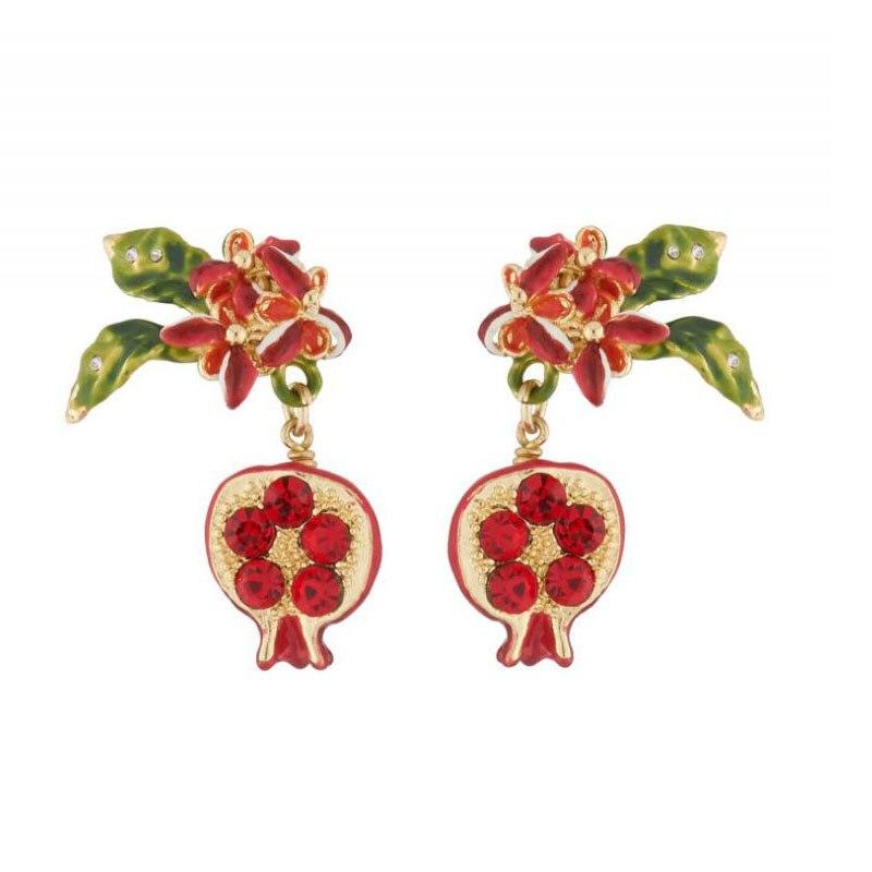 CSxjd Genuine Enamel Glaze Sky Garden Red Pomegranate Small earring woman Luxury Jewelry earring