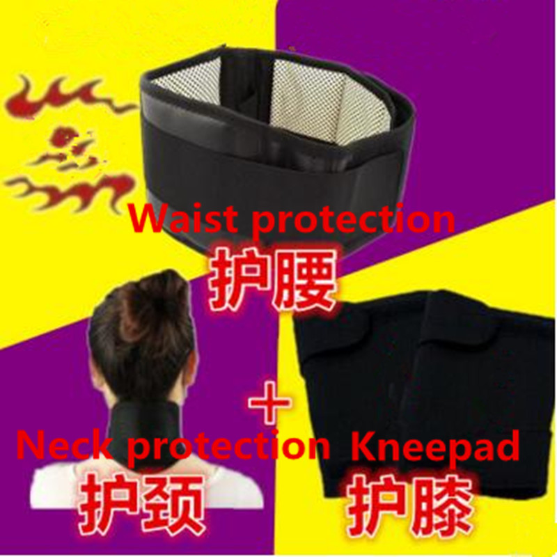 4pcs/set Self-heating Tourmaline Knee Belt Neck Magnetic Therapy Belt For Back Waist Support Brace Massager Tourmaline Products цена и фото