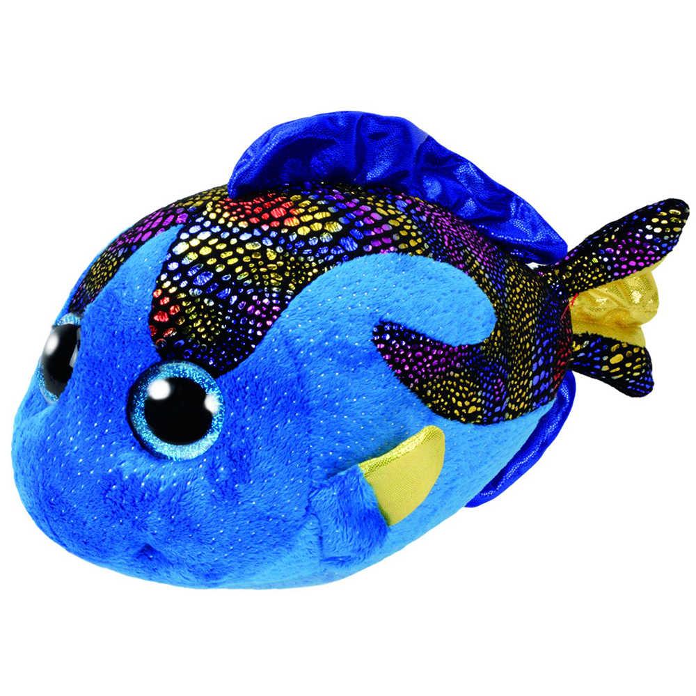 """Pyoopeo Оригинал Ty Boos 10 """"25 см Aqua Blue Fish плюш средней мягкости с большими глазами чучело Коллекционная кукла игрушка с биркой в виде сердца"""