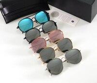 Big Bully Sunglasses Vintage Women Men Korea Brand Design Gentle Sunglasses Mirror Titanium Metal With V