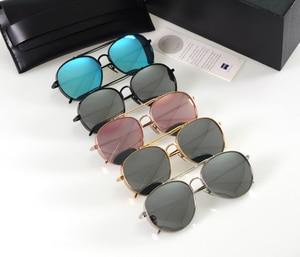 Big Bully Sunglasses Vintage Women Men Korea Brand Design Gentle Sunglasses Mirror titanium metal With V Logo And Original Box