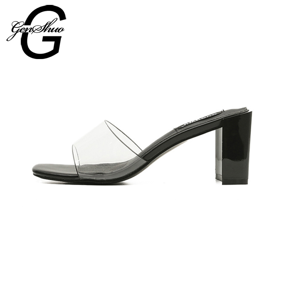 43d0cb4cb16 GENSHUO Women Sandals Open Square Toe Chunky Heel Transparent PVC Black  White Mid Heeled Sandals for Women Summer Slippers