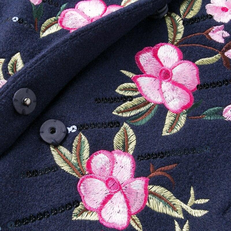 Stickerei Mantel Dame Mäntel Weibliche Vintage Graben Plus Größe Wolle Frauen end Blau Floral winter High 4xl Für Elegante M Lose PqxwS41a