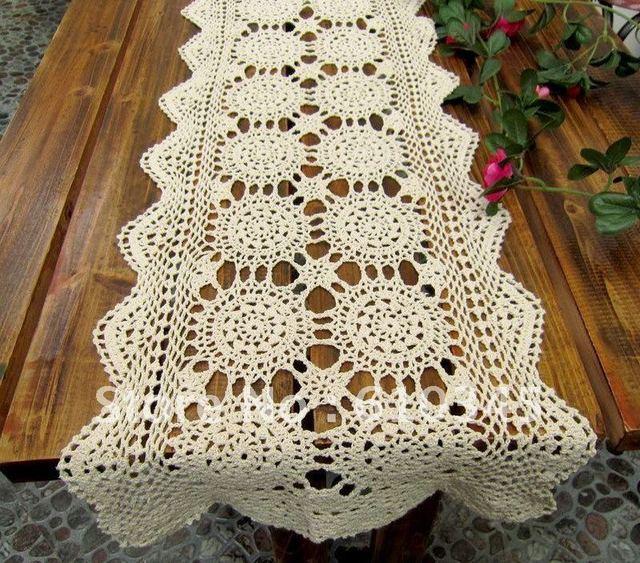 Venta caliente del envío libre 100% algodón tejido a mano crochet camino de  mesa 35x165 5d3b3dbe0c2