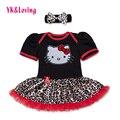 Leopardo de los bebés del mameluco dress ruffle ropa de niña recién nacido ropa caliente-venta de algodón romper + headband 2 unid/set dress rd115s