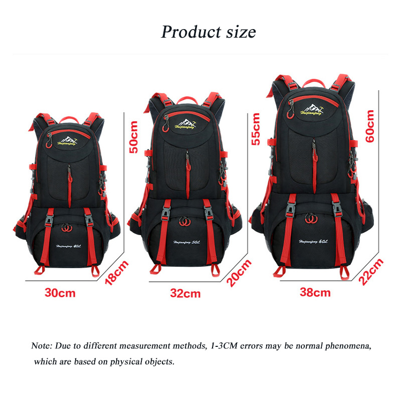 60L Mountaineering Pack Large Capacity Outdoor Camping Waterproof Riding Backpack Walking Rock Climbing Waterproof Shoulder Pack in Climbing Bags from Sports Entertainment