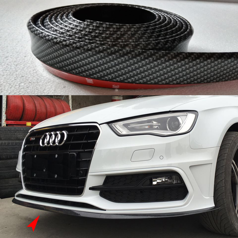 9PCS Universal PU Carbon Fiber Boky Kit ,Front lip, Side Skirt Trim 2.5 Meters for Audi BMW VW Benz Toyota Infiniti Mitsubishi