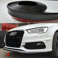 9PCS Universal PU Carbon Fiber Boky Kit ,Front lip, Side Skirt Trim 2.5 Meters for Audi BMW VW Benz Toyota Infiniti Mitsubishi
