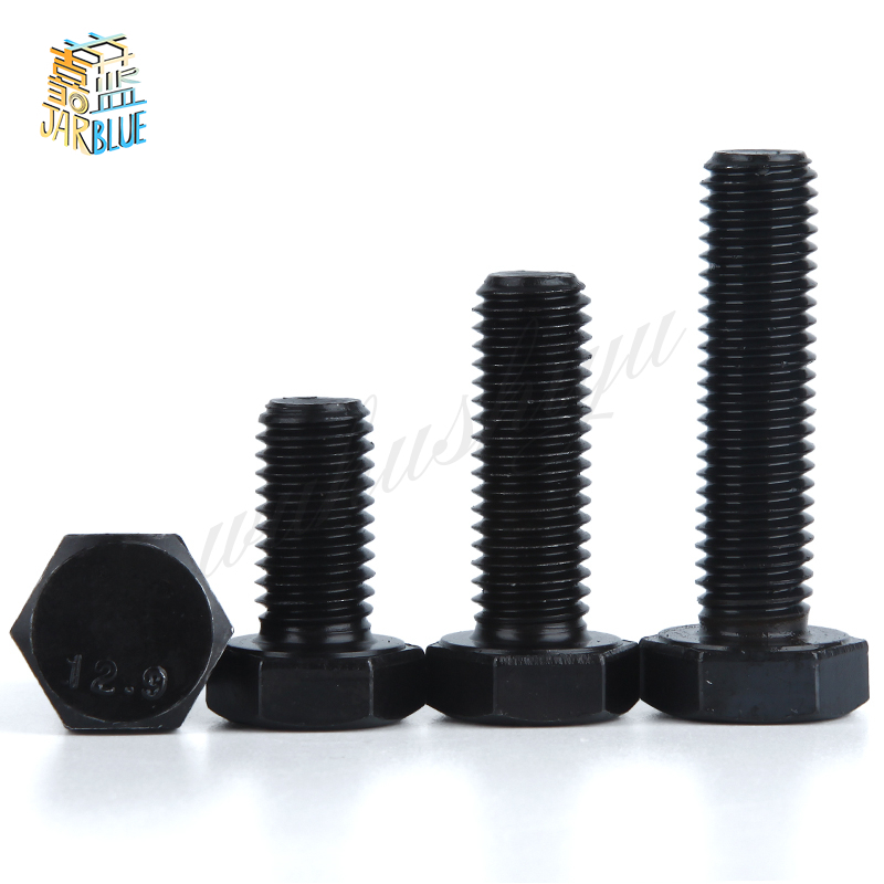 2PCS 12.9 Screws Hex Bolts Hexagonal Screws Black M27*70/80...200mm DIN933 militech fast aor2 bj high cut style vented airsoft tactical helmet ops core style base jump training helmet air soft helmet