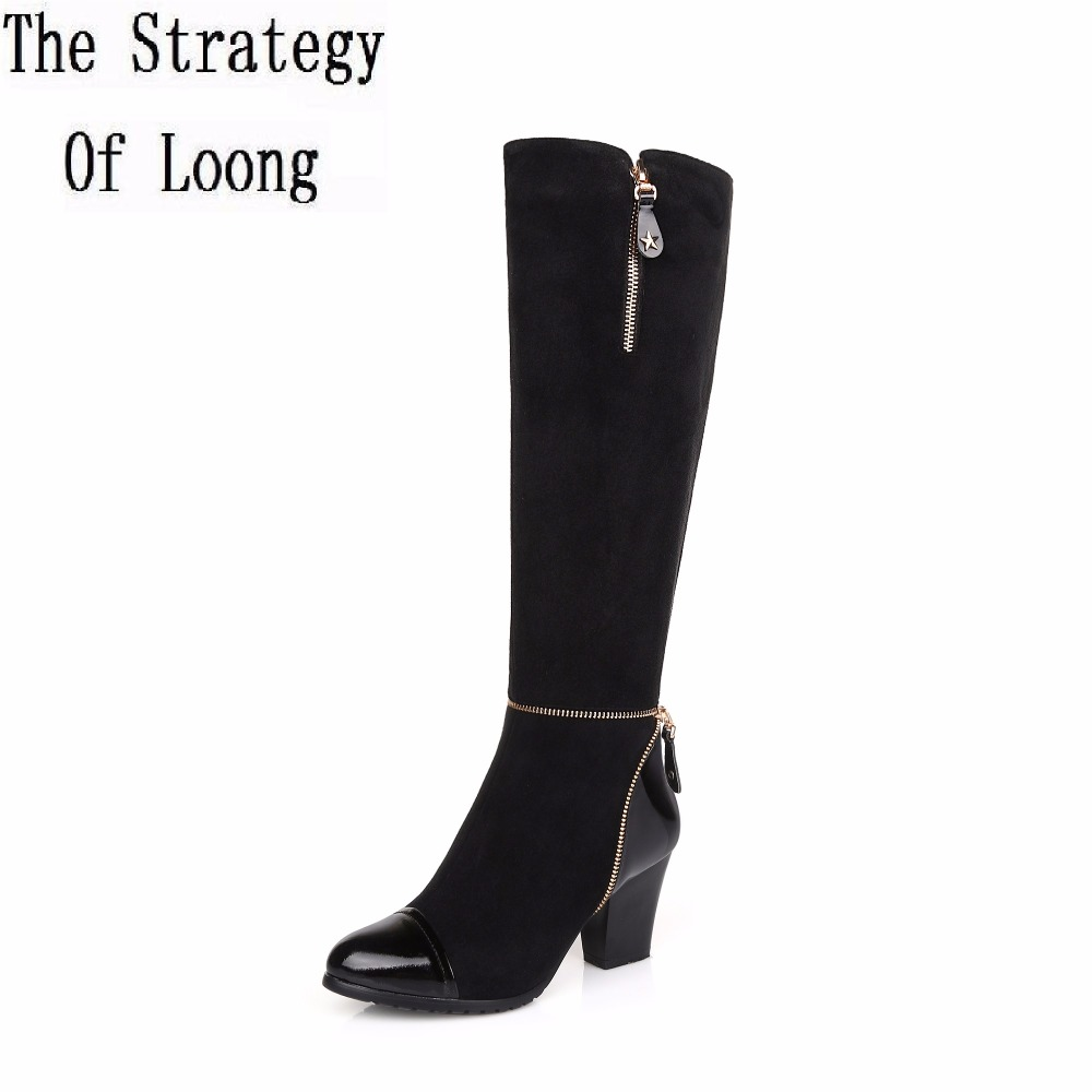 Women Spring Autumn Winter Sheepskin Leather Thick High Heel Pointed Toe Zipper Knee High Boots Plus Size 34-45 SXQ1007 master