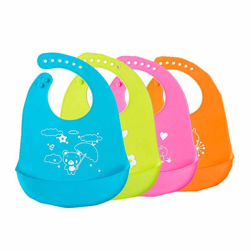 New Design Baby Bibs Waterproof Silicone Feeding Baby Wholesale Newborn Cartoon Waterproof Aprons Baby Bibs(China)