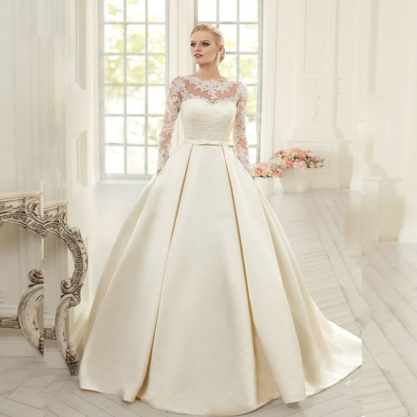 Elegant Simple Long Sleeve Wedding Dresses With Lace 2015 High