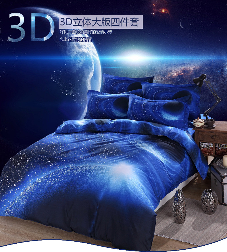 Hot 3d Galaxy bedding sets Twin/Queen Size Universe Outer Space Themed Bedspread 2/3/4pcs Bed Linen Bed Sheets Duvet Cover Set 24