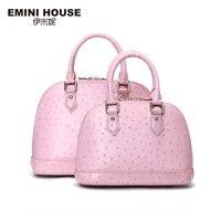 EMINI HOUSE Fashion Embossing Shell Bag Genuine Leather Luxury Handbags Women Bags Designer Shoulder Bag Women