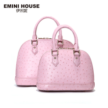 EMINI HOUSE Ostrich Pattern Shell Bag Genuine Leather Luxury Handbags Women Bags Designer Shoulder Bag Women Messenger Bags
