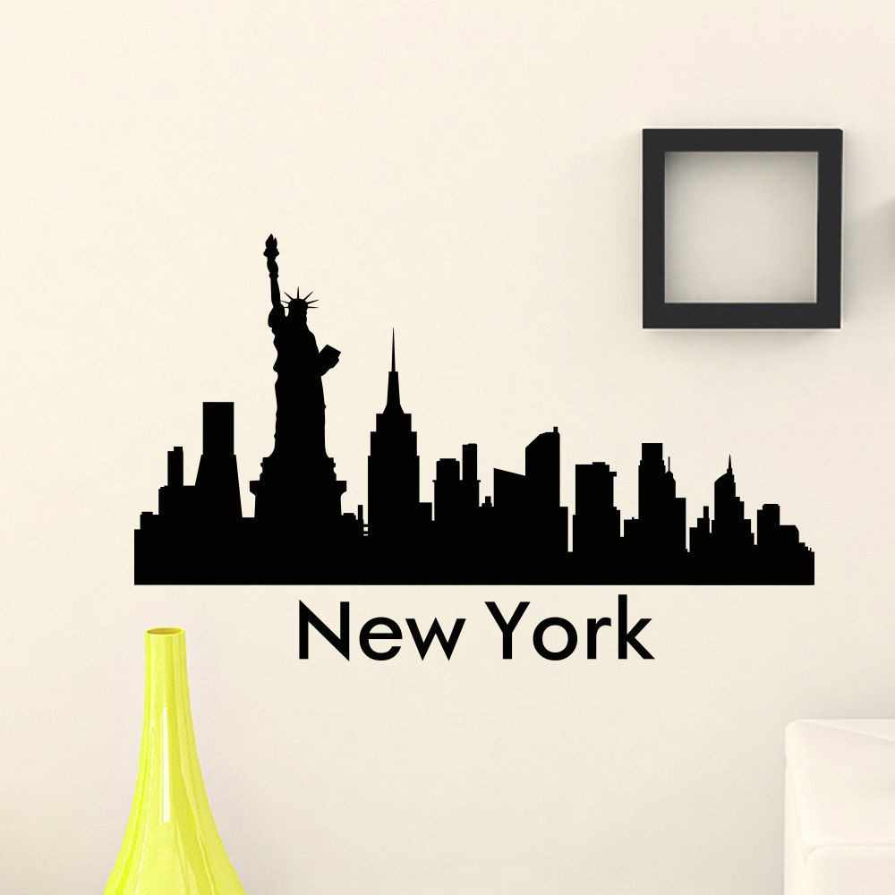 New york city skyline the wall sticker art mural city silhouette wall decals for home decoration