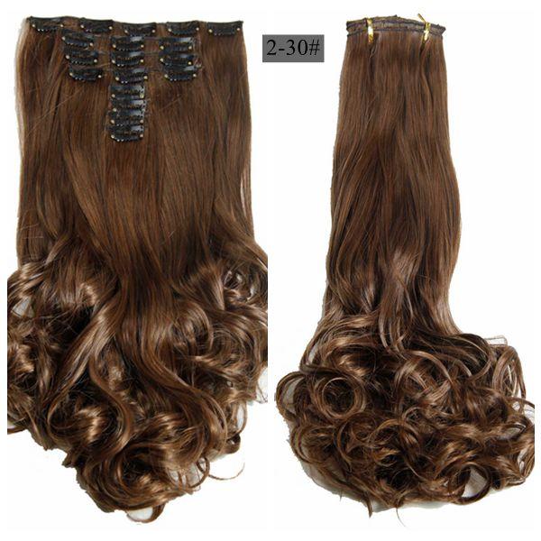 Schlussverkauf Luxus Für Flechten 50 Cm 20 hitzebeständige Haarteile Wavy Synthetische Clip Auf Haarverlängerungen Synthetische Haarverlängerung Synthetische Clip-in-extensions