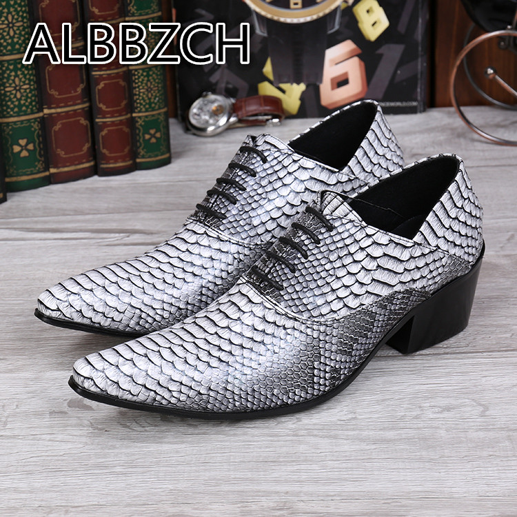 High Heels Men Oxfords Pointed Toes Shoes Mens Height Increasing Wedding Dress Shoes Business Casual Party