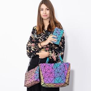 Image 2 - Lovevook bag set women handbag luxury designer folding crossbody shoulder bag female purse and ladies geometric luminous bag