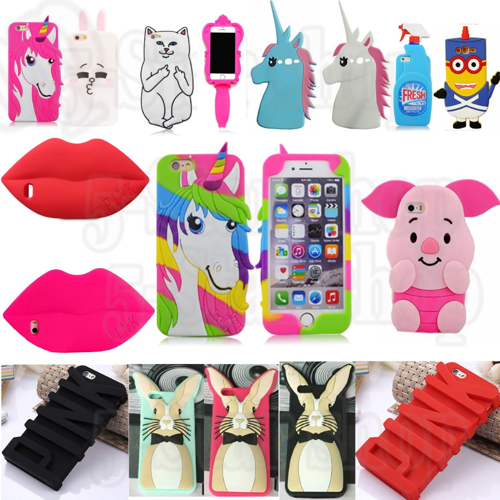 Arrive Colorful Horse Unicorn Minion Pig Big Lips Bunny Rabbit Cat Pink Letter Magic Mirror 3D Silicone Case iphone 6 6s  -  Factory store