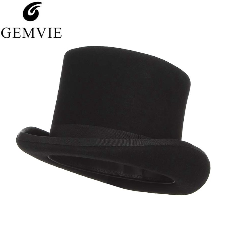 GEMVIE 13.5cm 100% Wool Felt Top Hat For Men Fedoras For Women Mad Hatter Costume Cylinder Hat Gentleman Derby Hat Magician Cap(China)