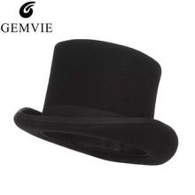 Gemvie 13.5センチメートルための100% ウールフェルト男性fedoras女性のためのマッドハッターコスチュームシリンダー帽子紳士ダービー帽子マジシャンキャップ