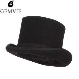 Image 1 - Gemvie 13.5cm 100% lã de feltro chapéu superior para homens fedoras para mulher chapeleiro louco cilindro traje chapéu cavalheiro derby chapéu mágico