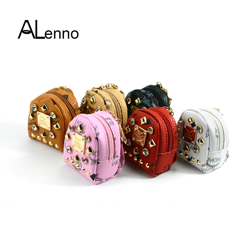 ALenno 6color Mini Backpack Rivet Rhinestone Leather Wallet Bag keychain For Women PU keyring On A Bag Locksmith Jewelry Trinket ...