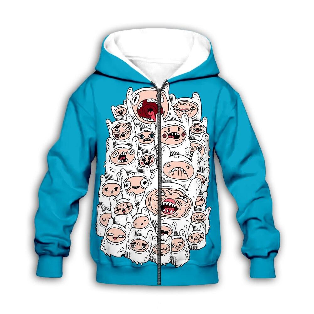 Kids 3D cartoon Print set blue autumn Hoodies girl baby boy children adventure time sweatshirts zipper coat jacket t shirt pants in Matching Family Outfits from Mother Kids