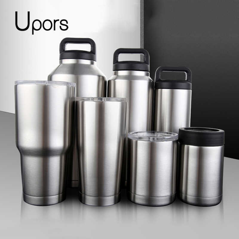 UPORS 10/12/18/20/30/36/64OZ Outdoor Sport Water Bottle Stainless Steel Water Bottle With Lid BPA Free Insulated Coffee Tumbler