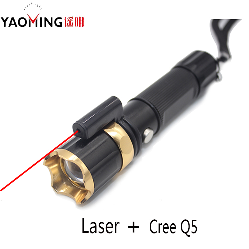 Laser Led Flashlight CREE Q5 Burning Laser Pointer Light Red Laserpointer Zoomable Police Flashlight Lantern Use 18650 or 3*AAA 031 5mw 532nm green laser pointer 3 led white light flashlight blue 2 x aaa