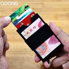 QOONG Travel Card Wallet Automatic Pop Up ID Credit Holder Men Women Business Case Rubber Band Purse Bill Clip KH1-021