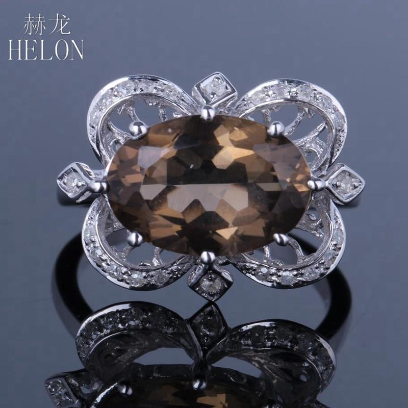 HELON Magnificent Solid 10K (417) White Gold Pave 4.2ct Smokey Quartz Topaz & Real Diamonds Gemstone Wedding Fine Jewelry Ring все цены