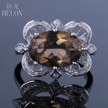 HELON Magnificent Solid 10K (417) White Gold Pave 4.2ct Smokey Quartz Topaz & Real Diamonds Gemstone Wedding Fine Jewelry Ring