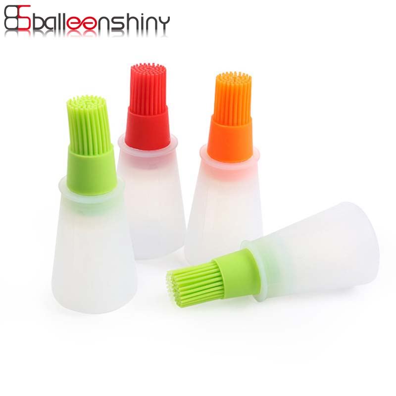 BalleenShiny Oil Bottle Brushes Tool Silicone BBQ Basting Oil Barbecue Cooking Pastry Oil Brushes Heat Resisting Silicone Tools