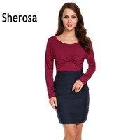Sherosa 긴 소매 Tshirt 여성 캐주얼 셔링 트위스트 매듭 전면 랩 솔리드 사무실 셔츠 최고 Magliette 도나