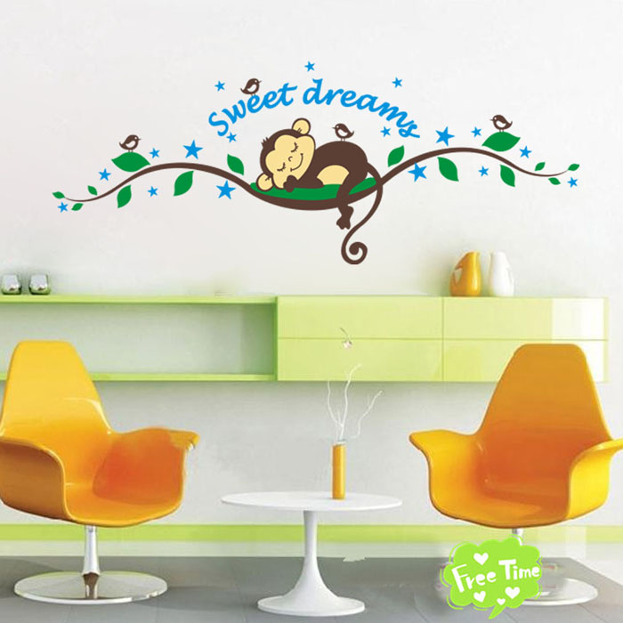 Us 1 16 38 Off 2019 Cartoon Sleep Monkey Sweet Dreams Tree Branch Wall Sticker Decal Wallpaper Boy Baby Room Home Decor New Free Shipping O12 In