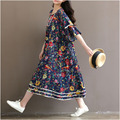 Women Flower Print Summr Butterfly Sleeve Dress Plus Size Floral  Big Swing Loose Dress Buttons Mid-calf Half Sleeve V-neck Maxi