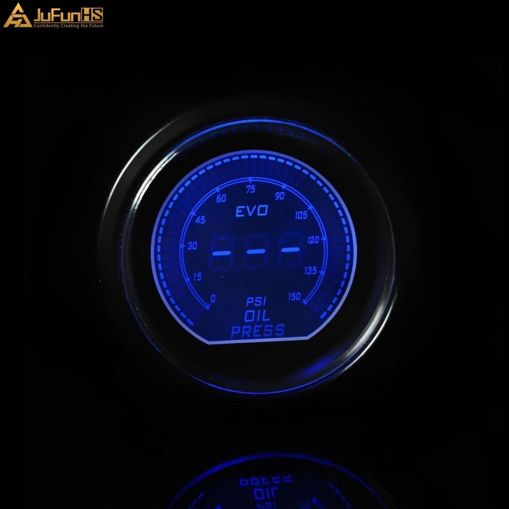 52mm Mobil Pengukur Tekanan Minyak Psi DC 12 V Auto Biru Merah LED - Suku cadang mobil - Foto 3