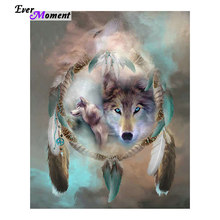 Icon Diamond Embroidery Wolf Mosaic Crystal 5D Cross Stitch Square Drill Diamond Painting Sticker Decoration Paintings ASF039(China)