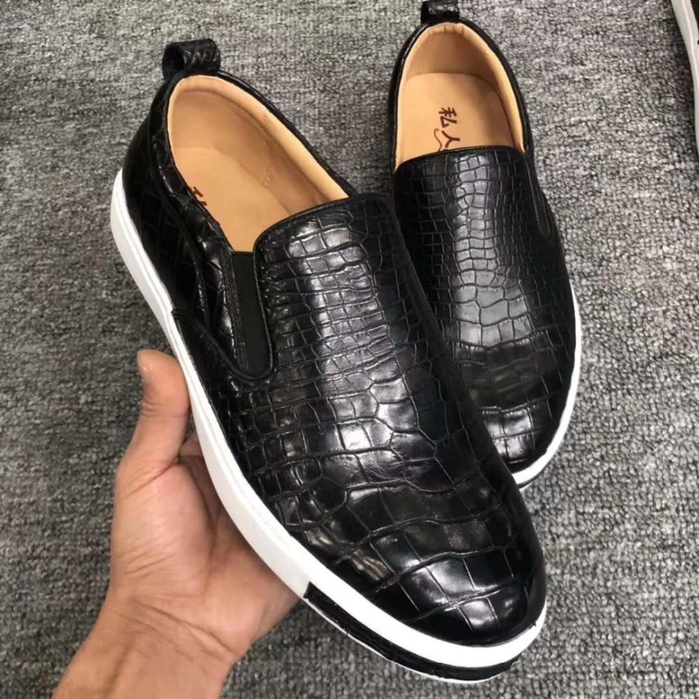 Show details for 100% Genuine REAL crocodile belly matt skin men shoe most durable solid crocodile skin men casual shoe black brown colors