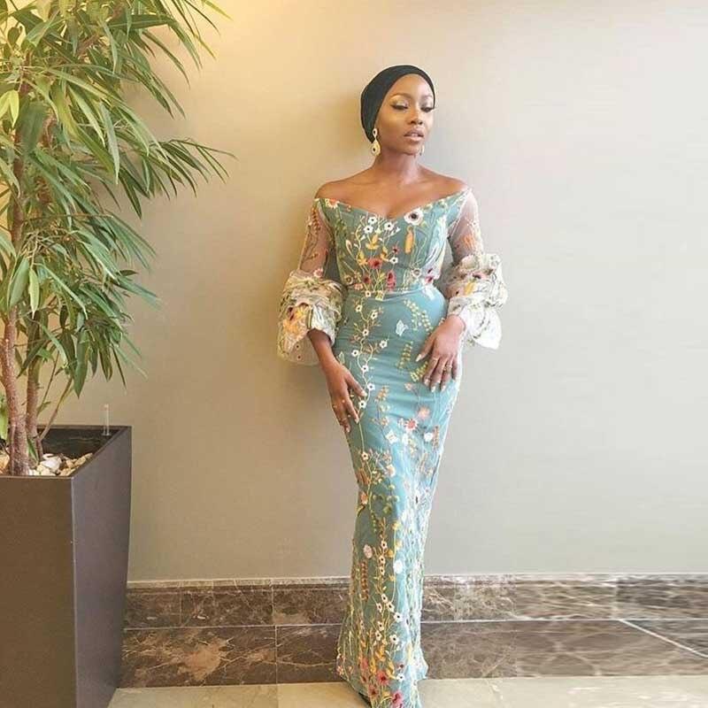 Arabia Saudita Della Miscela Ricamo Abito Da Sera Aso Ebi 3/4 Manica Lunga Sirena Abiti di Sera South African Nigeriano Prom Party Dress