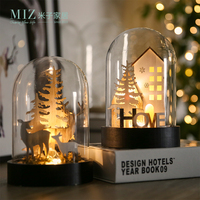 Miz Home Dried Flower Vase Glass Lid Lighted Wooden Tree House Christmas Gift Home Decoration Christmas