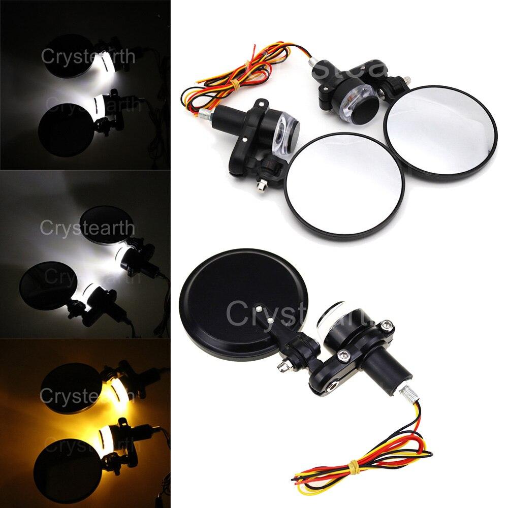"22mm 7/8"" Motorcycle LED Handle Bar End Rear View Mirrors Indicator Grip Turn Signal Light Indicator Amber White Blinker Lamp"