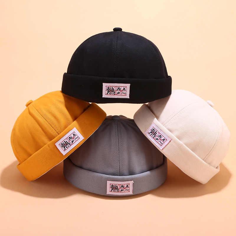 Винтажная хлопковая одноцветная шляпа без козырьков для мужчин и женщин Landlord Street Ventilation Skull cap Sailor Байкерская Кепка