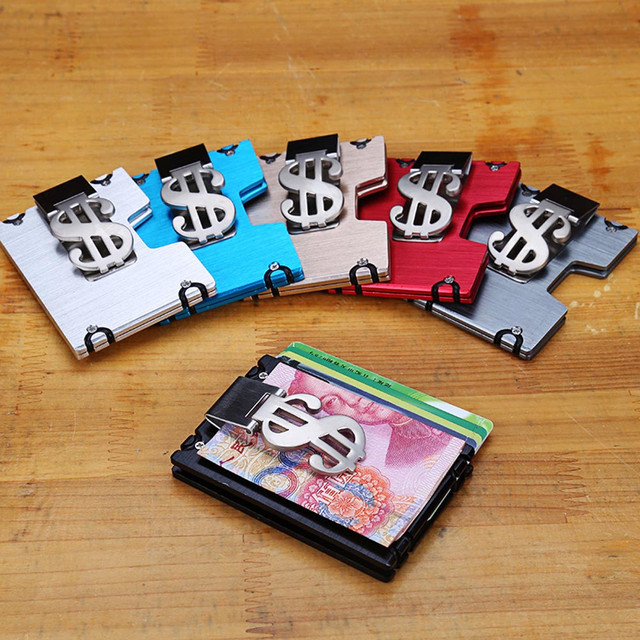 Aelicy Metal Wallet Mini Money Clip Brand Credit Card ID Holder With RFID Anti-chief Wallet 2019 New Design Solid Male Wallet L 1